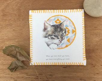 Cat Illustrated Postcard