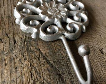 Flower Wall Hook, Jewelry Holder, Jewelry Organizer, Cast Iron Wall Hook, Nursery Wall Hook, Key Holder