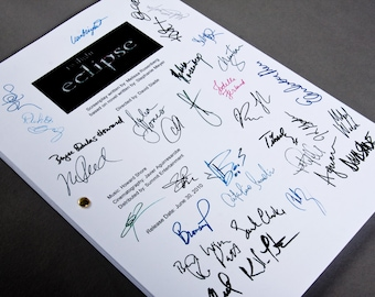 Twilight Eclipse Film Movie Script with Signatures / Autographs Reprint Unique Gift Christmas Xmas Present TV Fan Geek  Team Jacob Edward