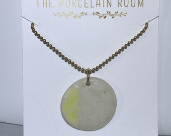 Yellow Waxing Gibbous Moon Phase Porcelain Necklace