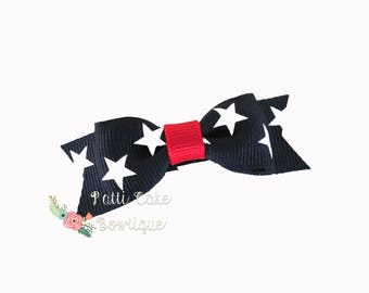 Happy Forth of July Tiny Bows/July 4th Hairclips/Fourth of July Patriotic Itty Bitty Bows/Baby Bows/Baby Girl Hairbows/Infant Hair Bows