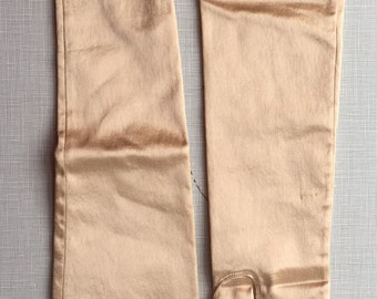 1950's rose gold stretchy gloves/above elbow length