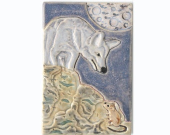 Wolf with Mouse and Moon Arts and Crafts Handmade 4x6 Decorative MUD Pi Tile