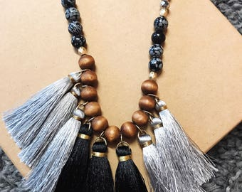 Black and silver tassel necklace