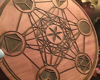 "Powerful Sacred Geometry Crystal Healing Grid Metatron's Cube on Cedar 10"" Wiccan Altar Ceremony"