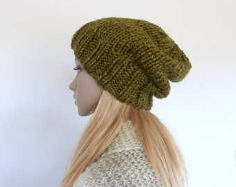 Green Chunky Knit beanie Womens slouchy hat Olive Green knit hat - Mens Knit Beanie