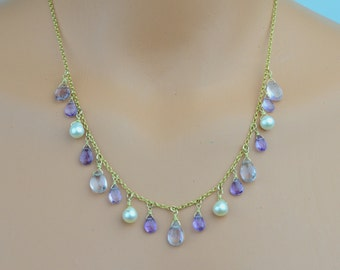 Gold filled necklace with amethyst teardrops and cultured freshwater pearls.(N10029)
