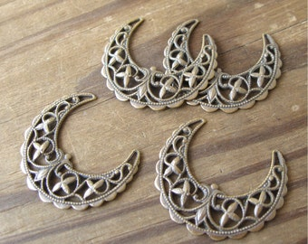 Brass Filigree Crescent Moon Findings Oxidized Finish Made in USA (4)