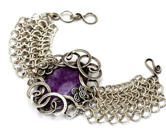 Chainmaille Bracelet, Silver Chain Bracelet, Wire Wrap Bracelet, Purple Bracelet, Chain Bracelet, Chainmail Bracelet, Gothic Jewelry