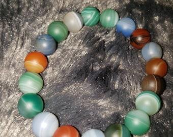 Frosted Multicolor Agate Bracelet