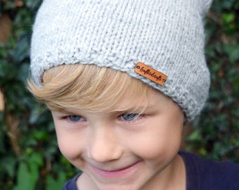 Hand Knitted Hat, Boy hat, Girl Hat, Kids hat, Kids Beanie Hat, Slouchy beanie, Grey hat, Grey Beanie hat, Ready to ship
