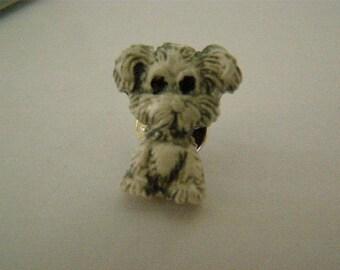 dog brooch in polymer clay
