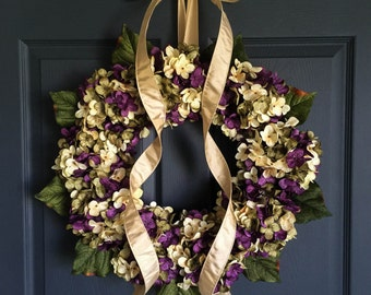 Summer Wreaths | Front Door Wreaths | Blended Hydrangea Wreath | Door Wreath | Summer Wreath | Housewarming Gift Ideas