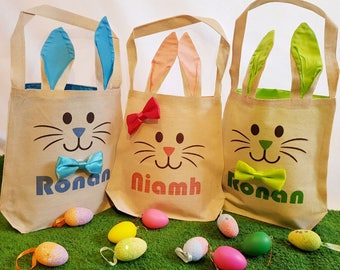 Multiple Personalised Eater Bags - Bunny Easter Egg Hunt Bags - Pink, Blue, Green Easter Bunny Canvas Bag - Personalised with Child's Name