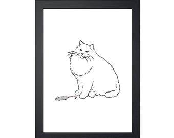 Cat & Dead Mouse Present 8.5x11 Art Print, Wall Decor, Wall art, Funny Cat Art, Drawing Prints