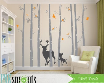 Birch Tree Decal with Deer and birds, set of 8, Birch Trees with flying birds, birch tree set, Birch forest, Nursery decals, Baby Decals