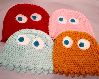 Pacman Ghost Crocheted Hat