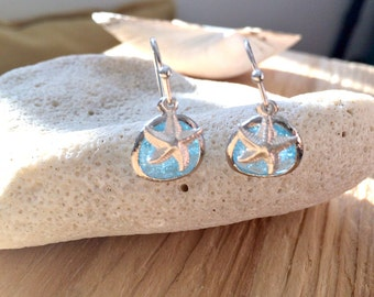 Silver Aquamarine Earrings Aquamarine & Starfish Earrings Starfish jewelry Beach Wedding Bridesmaid Gift Beach Wedding march birthstone