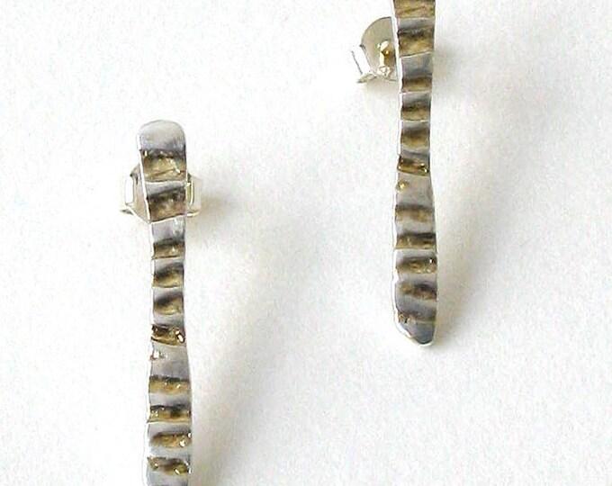 Long Zebra Stud Earrings With Gold Detail