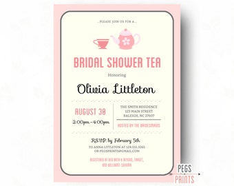 Bridal Shower Tea Party Invitations - Printable Bridal Shower Tea Invitation - Tea Party Bridal Shower Invites - Bridal Tea Party Invitation