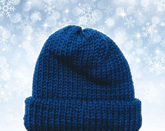 Bright Navy Blue Double Layer Knit Children's Hat