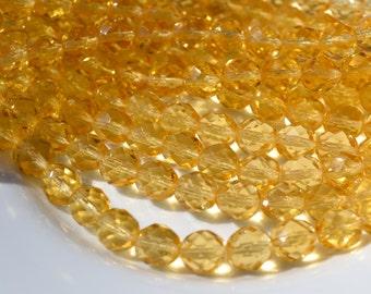 Honey Light Topaz 8mm Faceted Fire Polish Round Czech Glass Beads   25