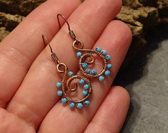 Copper Wire Sleeping BeautyTurquoise Earrings