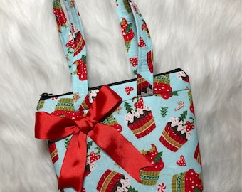 Christmas cupcake holiday purse