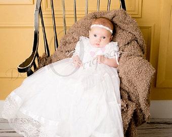 Lace and tricot Lauren Christening Gown /  Blessing Dress/ Blessing Dress / Baptism Gown / Naming Dress / Formal Wear