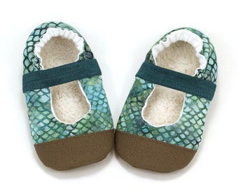 mermaid mary janes baby girl mermaid shoes scales batik green and blue rubber sole shoes soft sole elastic baby shoes mary jane moccs