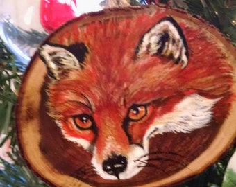 Red Fox hand painted on mesquite wood cutting Christmas ornament