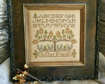 Primitive Cross Stitch Pattern - Gather Friends