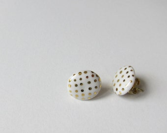 White porcelain earrings with real gold dots, ceramic stud earrings with gold plated silver posts