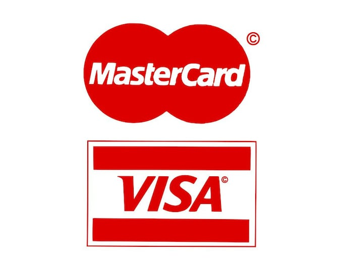 Mastercard Visa Decal / vinyl sign / decal / minimum / business sign / decal sign / window sign / cash register