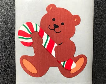 80's Sandylion Stickers, Scrapbooking, Vintage , Christmas Bear with Candy cane  (1 mod)