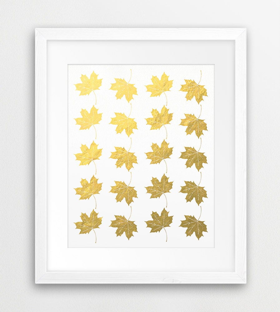 Maple Leaf Print Gold Maple Leaves Wall Art Canadian Maple