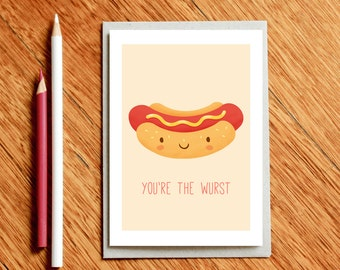 Hot Dog Funny Valentines Day Card, Birthday Card, Funny Food Pun Card, Anniversary Card, Love Card, Gift for Foodie, Funny Birthday Card