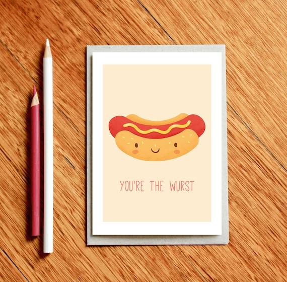 Hot Dog Funny Valentines Day Card Birthday Card Funny Food
