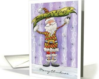Santa Believe , Christmas Card Santa, Santa Illustration Greeting Card, Christmas Card