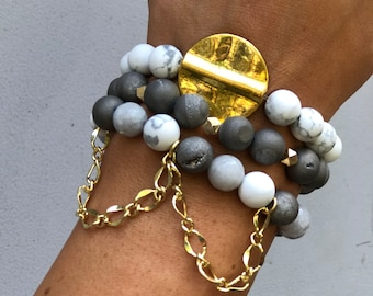 Stacked Neutrals with a Dripping gold chain