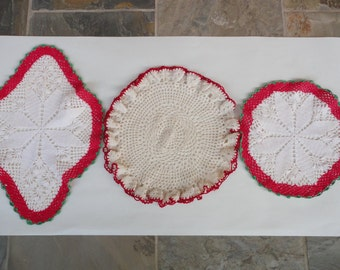Set of 3 Vintage Hand Crocheted Doilies