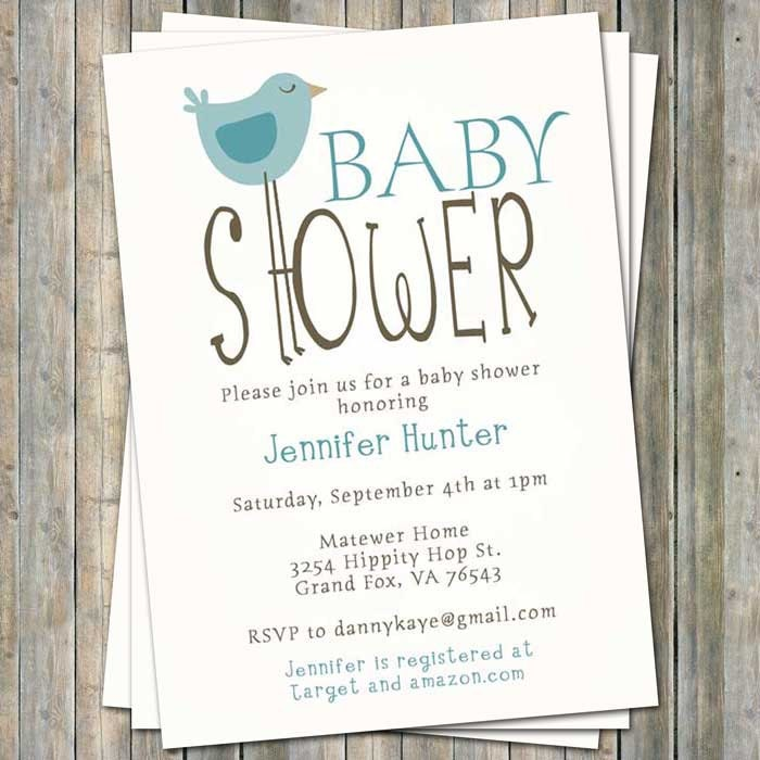 Bird baby shower invitations bird themed baby shower