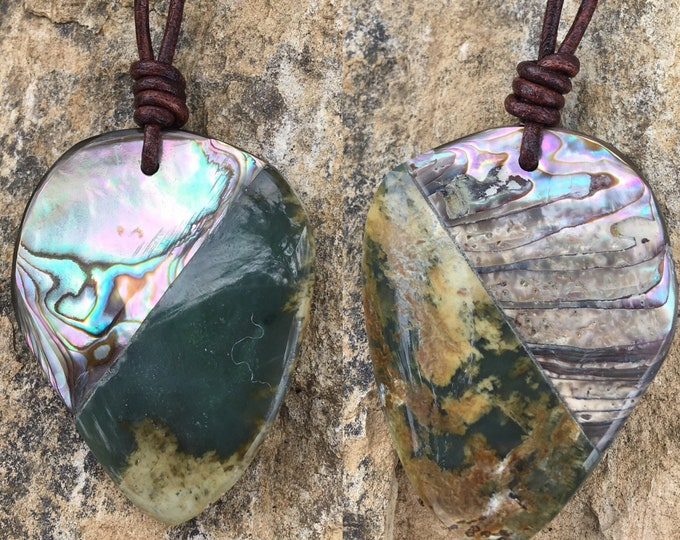 Featured listing image: Big Sur Jade, Cambria Abalone and Leather Necklace