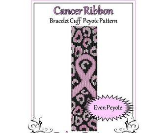 Bead Pattern Peyote(Bracelet Cuff)-Cancer Ribbon