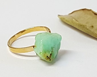 Mint Green Jewelry, Chrysoprase Ring, Raw Chrysoprase, Green Ring, Raw Stone Ring, Rough Stone Ring, Gift for Her, Statement Ring, Gifts