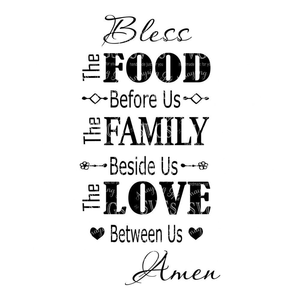 Kitchen Prayer Quotes: SVG Bless The Food Before Us Kitchen Prayer Sign Design