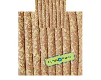 DL06400 - 0.40 meter x 6.00mm Natural, Vintage effect  Braided Leather Cord