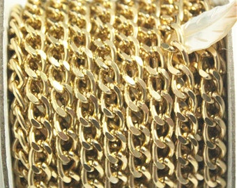 10yards Gold Curb Chain Roll,Aluminum Chain, Open Link Chain per Link Size 10mmx6mm Jewelry Findings