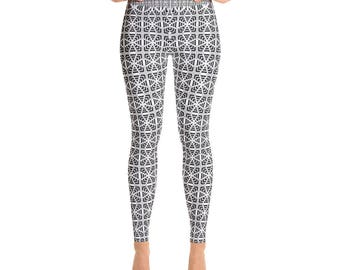 Geometric Pattern Yoga Leggings  - Mystic Geometry pattern by Equanamy