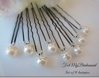 Wedding Ivory Pearl Hairpin 8 Ivory White Pearl Hairpins Up Do color choice wedding hair accessories pearl bobby pins Bridal pearl hairpins.